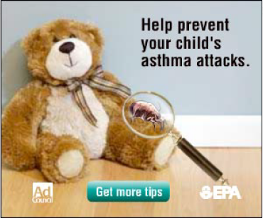 Web ad stating Help prevent your child's asthma attacks
