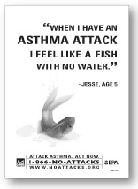 Black and white image of Asthma Attack Print ad in english