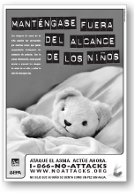 Black and white image of Keep Out of Reach of Children ad in spanish